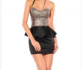 Sexy Graceful Gleam Sequins Strapless Dress Black