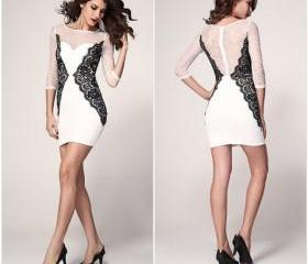 Sexy O-Neck Half Sleeve Lace Slim Casual Dress For Women
