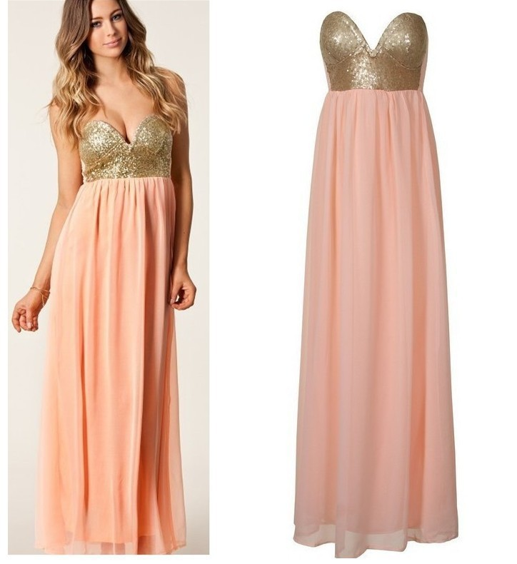 Sexy Sweetheart Strapless Sequined Chiffon Maxi Dress Women ...